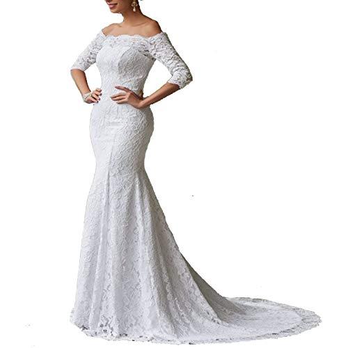 TTYbridal Off Shoulder Lace Mermaid Wedding Dress 2019 Long Sleeve Bridal Dresses W37 Ivory 10