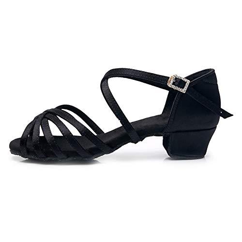 YKXLM Niñas y Mujeres Negro Zapatos de Baile Latino Zapatillas de Entrenamiento Modernas Salsa Performance Ballroom Modern,Modelo ES-TL-LP1203-ZSZK