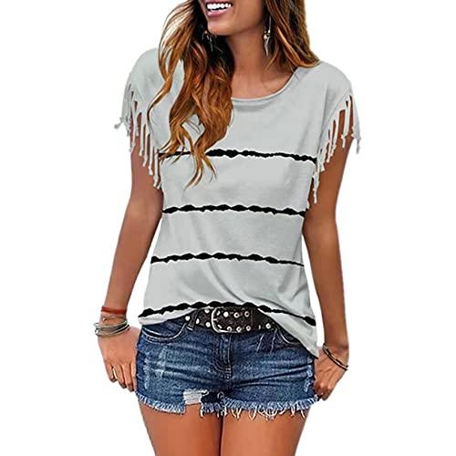Camiseta De Manga Corta con Flecos Y Rayas Estampadas De Verano para Mujer