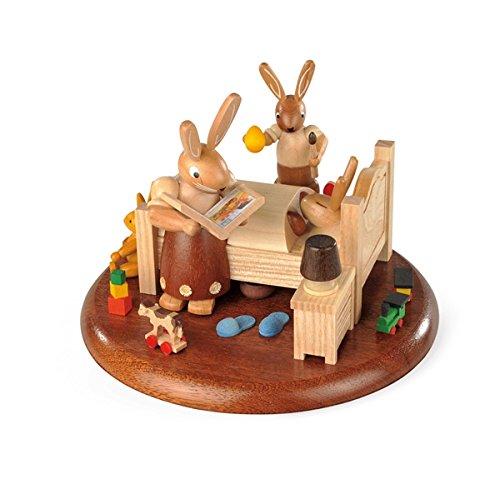 Speeldoos met motief voor elektrische speeldozen 'Ik ben sterk '' hazenverhalen Ø: 15 cm NIEUW speeldoos speelwerk sneeuw figuur zeep ertsgebergte hout decoratie Kerstmis speeldoos