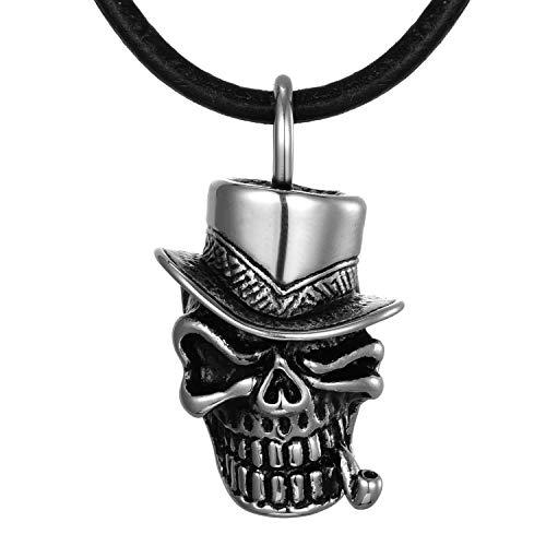 DonDon Herren Leder Halskette 50 cm Zylinder-Totenkopf mit Pfeifen Anhänger Edelstahl im Schmuckbeutel