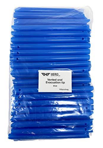 HERO HVE Blue Oral Evacuator Vented S Curved Tip - (100 Pcs/Bag)