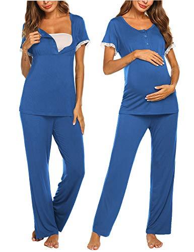 MAXMODA Damen Umstandspyjama Stillfunktion Stillschlafanzug Kurzarm Lange Hosen
