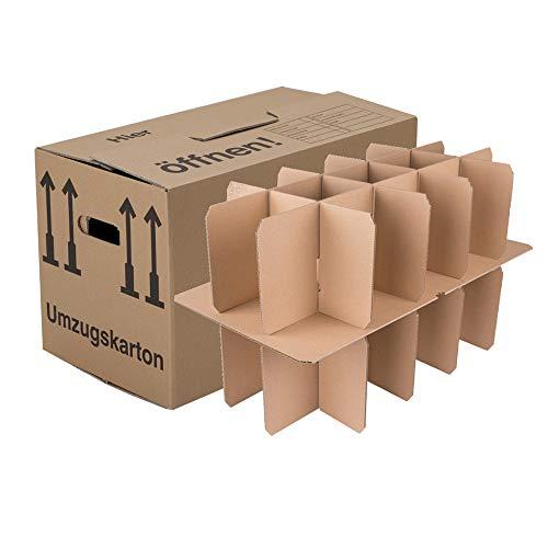 BB-Verpackungen Gläserkartons, 15 Stück, mit 15 Fächern Flaschenkartons für Umzug Verpackung Umzugskartons thumbnail