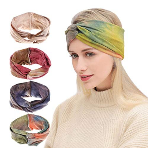 Brishow 4 Pack Boho Hoofdbanden Yoga Haarbanden Antislip Elastische Turban Hoofd Wikkel Haaraccessoires voor Vrouwen en Meisjes