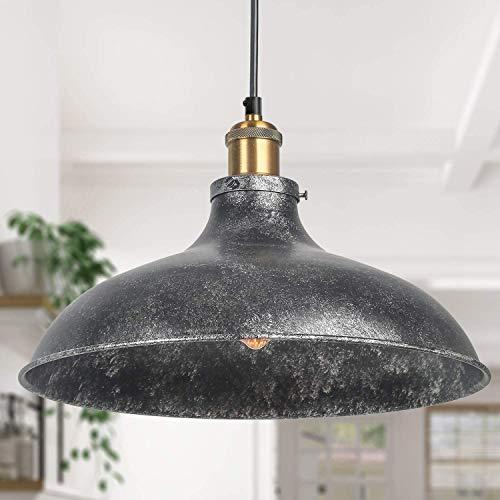 LNC - Lámpara colgante para cocina isla industrial, gran granero, acabado negro rústico, 36 x 22 cm