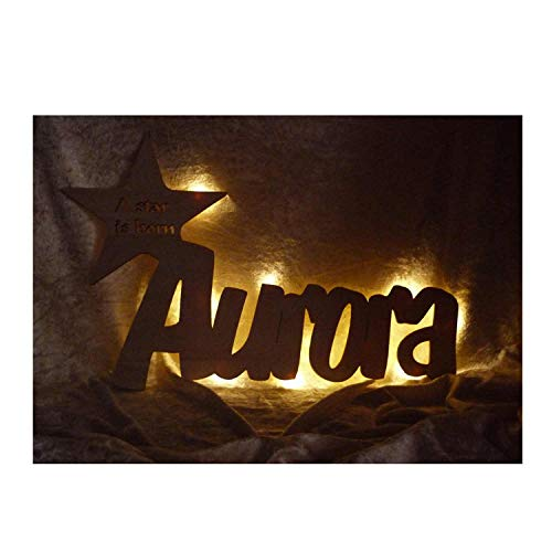 """Schlummerlicht24 - Luce notturna """"A Star is Born"""" personalizzabile con nome, ideale come regalo di compleanno o di battesimo, realizzata a mano"""