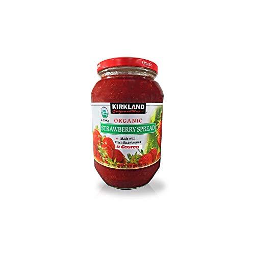Kirkland Signature Organic Strawberry Spread - 42 Oz (2lb), Made with Fresh Strawberries, 65% Fruit, Preserves, Jam - PACK OF 3