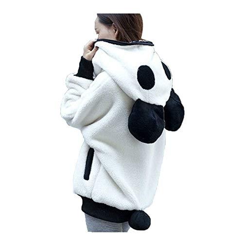 BOLANQ Mantel Jacke Coat Outwear Sweatshirt, Cute Bear Ear Panda Winter warme Hoodie Mantel Frauen Kapuzenjacke Oberbekleidung(Large,Weiß)