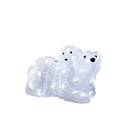 """Konstsmide 6191-203 LED Acrylfigur """"Eisbärmutter mit Kind"""" / für Außen (IP44) / 24V Außentrafo / 48 kalt weiße Dioden / weißes Kabel"""