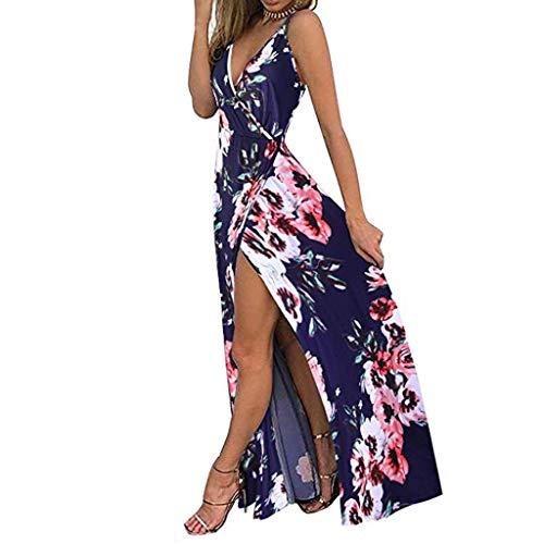 Aini Mujeres Sexy Cuello En V Boho Estampado Floral Maxi Vestido Vestidos Mujer Casual Playa Largos Verano Vestido Boho Hendidura Falda Larga Maxi Vestido Playeros Vestidos De Fiesta Sin Mangas