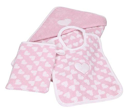 Betz 3tlg Kapuzenbadetuch Kapuzentuch 85x85 cm Babyset Herzchen II 100% Baumwolle 1 Kinder Badetuch 1 Lätzchen 1 Waschhandschuh Baby Farbe rosé