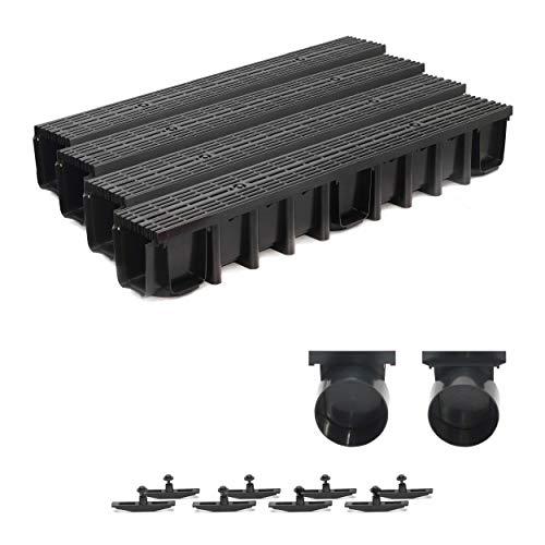 4m Entwässerungsrinne Terrassenrinne, System A15 148mm Stegrost Kunststoff, schwarz-line, komplett SET