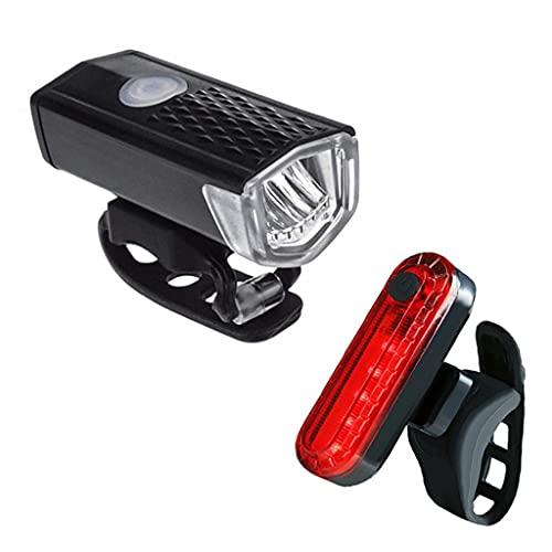 2 Unids Bike Light Bicycle Light Recargable 300 Lumens LED Fight Fightlight + Luz Trasera Trasera Lámpara de Advertencia Accesorios de Bicicleta (Color : Black)