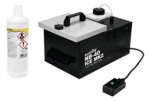 Eurolite NB-40 MK2 ICE Bodennebler (Set mit kompaktes Bodennebelgerät mit 1,2-Liter-Tank und 1 Liter geruchsneutralem Nebelfluid B-Basic)
