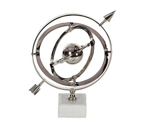 Deco 79 28535 Armillarskugel aus Aluminium und Keramik, 25,4 x 38,1 cm, Silber/weiß