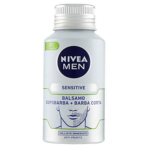 NIVEA MEN Sensitive Balsamo Dopobarba + Barba Corta in confezione da 1x125 ml, After shave con Camomilla, Vitamina E e Olio di Mandorla, riduce le irritazioni da rasatura