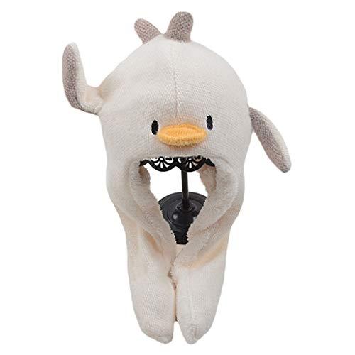LYTYM Divertido Sombrero de Pingüino Pingüino Moviendo Orejas Sombrero Unisex Unisex Oído Sombrero Flap con Bufanda for niños Niñas Gorra de Esquiar (Color : Beige, Size : 2-6 Years)