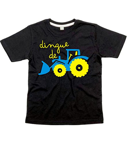1-2 Ans Noir Tee Shirt Dingue de Tracteur Design 3 with Saph, Yellow & Silver Print