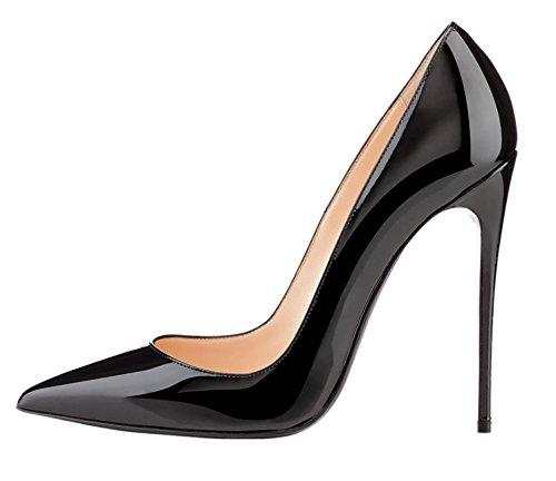 EDEFS Zapatos de Tacón para Mujer,Zapatos de Tacón Alto 12 CM Negro EU37