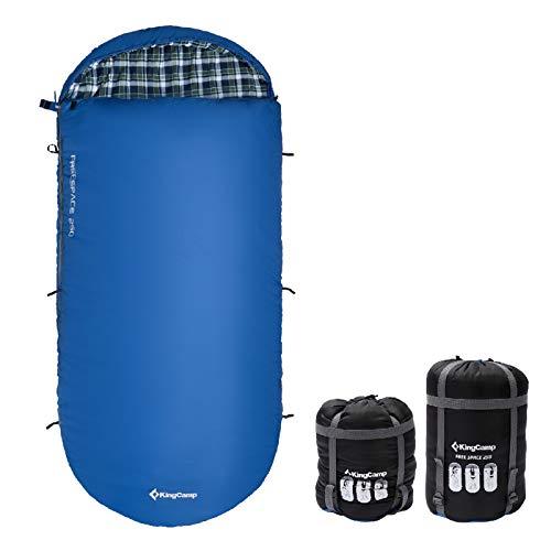 KingCamp Decken Schlafsack Freespace 250 Camping Lang Breit Baumwolle Flanell Blau Right Zip