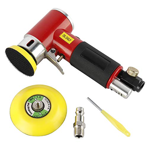 FreeTec Lijadora Excéntrica de aire Comprimido, Miniamoladora de Angulo con Disco de Lijado de 50 mm y 75 mm