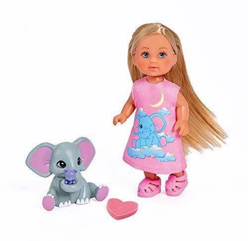 Simba 105733355 - Evi Love Good Night Elephant / mit kleinem Elefanten / Farbwechsel / Zubehör / Ankleidepuppe / 12cm, für Kinder ab 3 Jahren