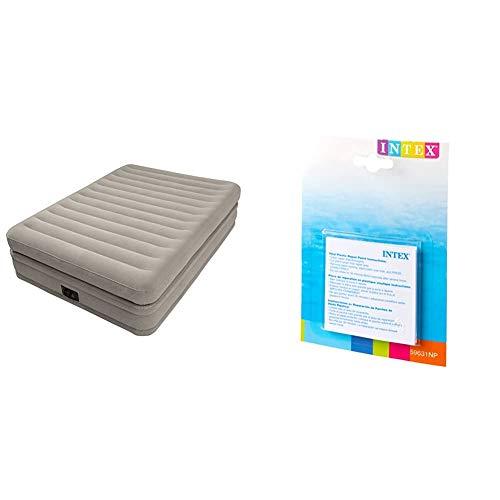 Intex 64446 - Colchón Hinchable fibertech Doble Capa, 152x203x51 cm + 59631NP - Set de reparación Parches autoadhesivos, 7 x 7 cm