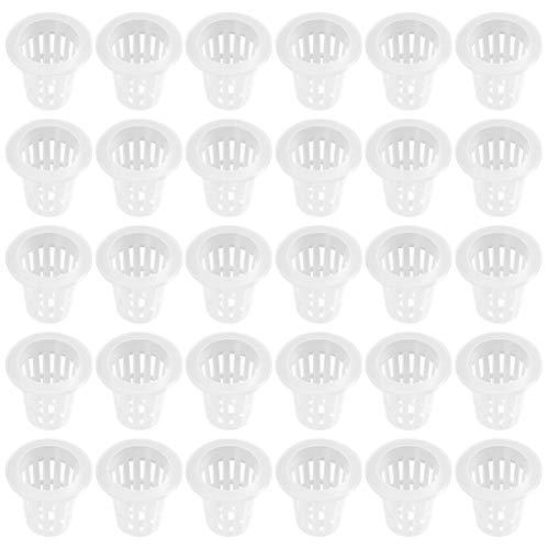 DOITOOL 50Pcs Macetas Netas / Macetas de Vivero Macetas de Plástico para Jardín - Orquídeas Acuaponía Acuicultura Malla Ranurada para Hidroponía
