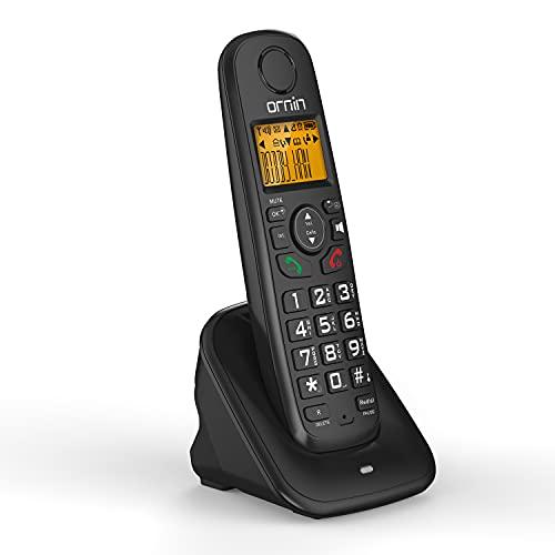 Ornin D1001 Téléphone résidentiel sans Fil, avec Technologie ECO DECT à économie d'énergie, Haut-Parleur Mains Libres (Paquet Unique, Noir)