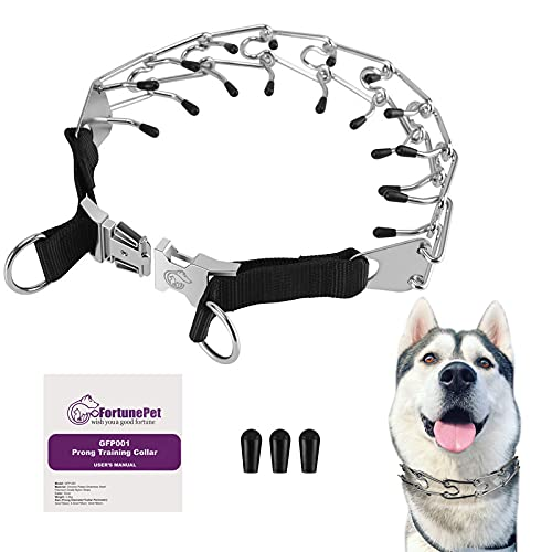 gofortunepet Prong Dog Collar, Safe Stainless-Steel Spiked Collars used for No Pull Behavior Training, Comfort Pinch Choke with Easy-On and Quick Release Metal Buckle for Small, Medium, and Large Dogs