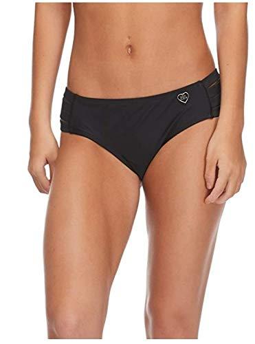 Body Glove Women's Standard Smoothies Nuevo Contempo Solid Full Coverage Bikini Bottom Swimsuit, Black, Medium