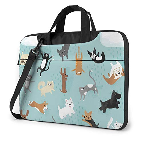 Laptop Shoulder Bag - Rain Cat and Dog Printed Shockproof Waterproof Laptop Shoulder Backpack Bag Briefcase 15.6 Inch