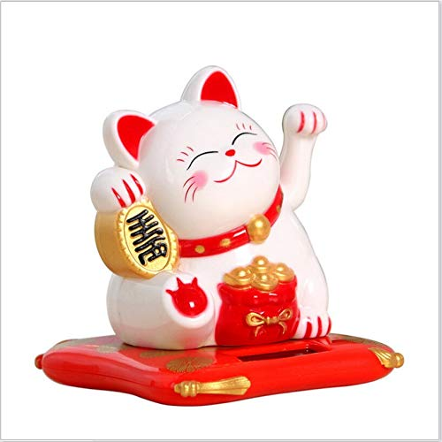Stephanie Figurines & Miniatures - Fashion Black/White Solar Powered Maneki Neko Welcoming Fortune Cat Lucky for Home Car Hotel Restaurant Decor Craft - by 1 PCs