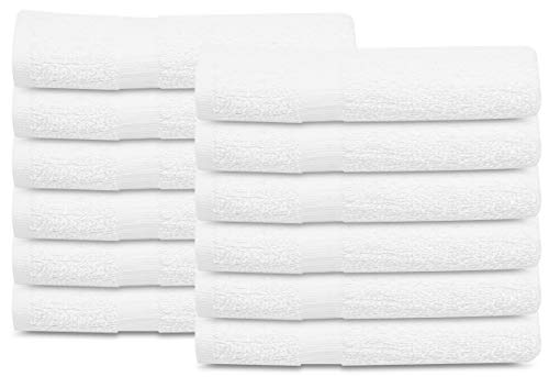 12 Pcs New White (20x40 Inches) Cotton Blend Terry Bath Towels Salon/Gym Towels Light Weight Fast Drying
