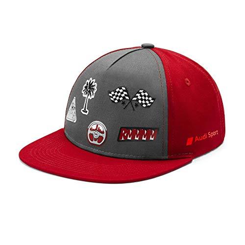 Audi collection 3201901000 Basecap Kinder Cap Snapback Baseballcap, grau/rot, Mittel