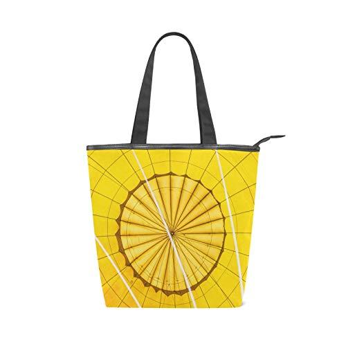 JinDoDo - Bolsa de lona con cremallera, fondo amarillo, líneas circulares para mujer, para ir de compras, viajes, playa, escuela