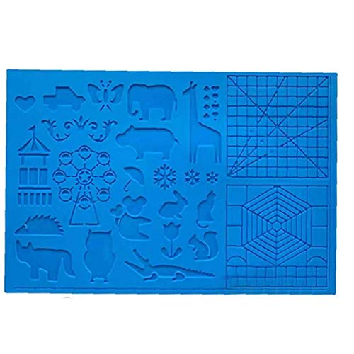 Silikon-Zeichenbrett 3D Pen Mat 3D Pen Stencils Buch 3D-Pen Zeichenwerkzeuge Blau