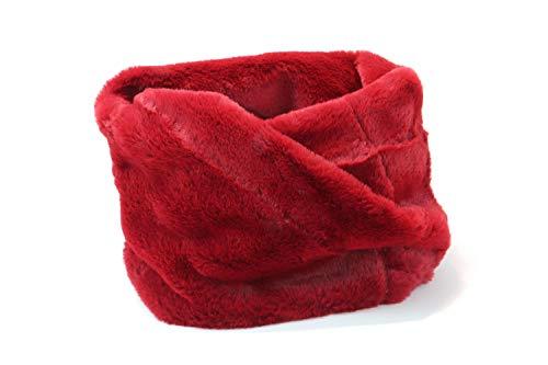 Peti Bufanda cuello redondo mujer pelo sintético tacto agradable 100% poliéster suave calentador de cuello (Granate, Talla única)