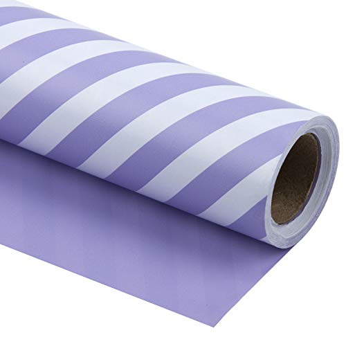 WRAPAHOLIC Reversible Wrapping Paper - Purple and Stripes Design for Birthday, Holiday, Wedding, Baby Shower Wrap - 30 inch x 33 feet
