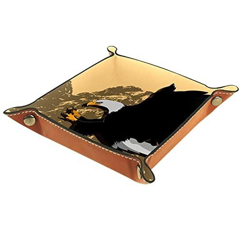 Skórzane organizery biurkowe taca pudełko do przechowywania latający jastrzęb na klucze, monety, telefon, biżuteria