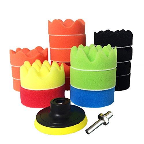 Preisvergleich Produktbild NORTHERN BROTHERS Polierschwammpads Buff Pad - 19 Stück 3 '' Buffing Pads Kit für Autopolierer Waxing Clean (M10 Bohradapter)