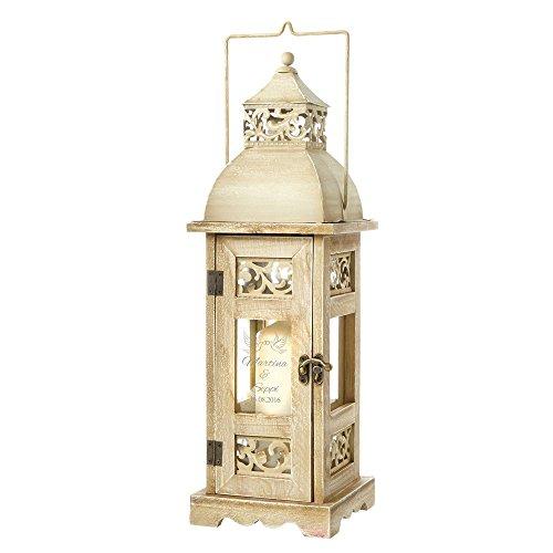 Casa Vivente Holz-Laterne mit Gravur – Motiv Tauben – Personalisiert mit Namen und Datum – Windlicht für Haus und Garten – Deko – Hochzeitsgeschenk für Brautpaar – Geschenkidee zur Hochzeit