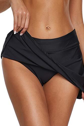 Dolamen Mujer Shorts de baño, Trajes de baño Bañador Deportivo Traje de Baño Bañador de natación Falda Bikini para Mujer Bragas Pantalones Cortos (Large, Negro)