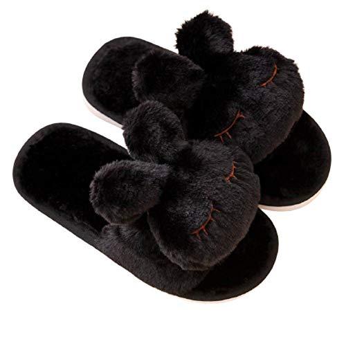 Y-PLAND Zapatillas de Felpa de Conejo de Dibujos Animados para Padres e Hijos, Zapatillas de algodn de otoo e Invierno, Zapatillas de algodn clidas y Antideslizantes para Interiores-Negro_US7-8
