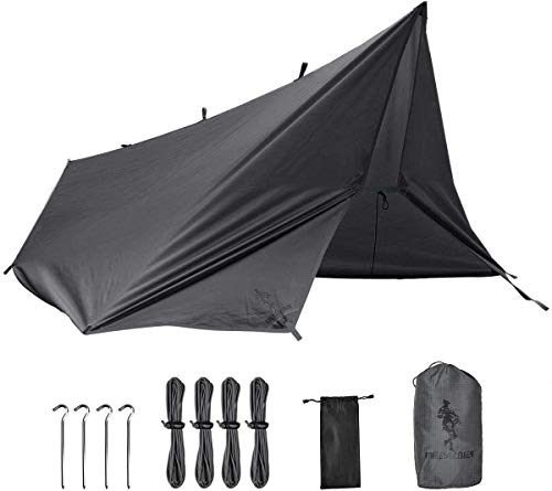 FREE SOLDIER Camping Tarp Waterproof 3m x 3.2m Large Hammock Tent Tarp Portable Tarpaulin Anti-UV Shelter Sun Block Sunshade Awning for Camping Hiking Traveling Outdoor Sports(Grey With nails)