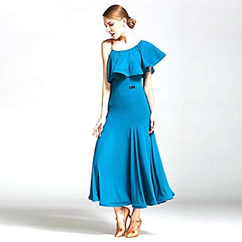 WHSS Vestido de Ballet Vestidos De Baile Vestidos for Mujer Rendimiento Fibra De Leche Volantes Vestido Natural Un Hombro Rojo/Negro (Color : Blue, Size : XL)