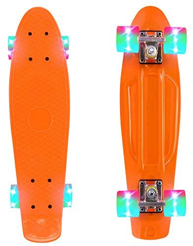 ChromeWheels Skateboard 22 inch Complete Skate Board Mini Cruiser with LED Light Up Wheels for Kids Boys Youths Beginners, Orange