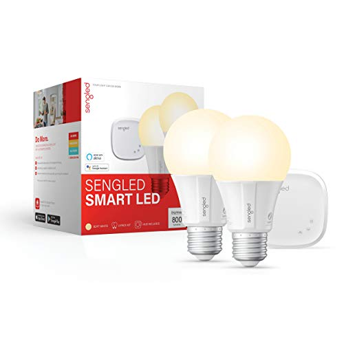 Sengled Smart LED Soft White A19 Starter Kit, 2700K 60W Equivalent, 2 Smart Light Bulbs & Hub, Works with Alexa & Google Assistant