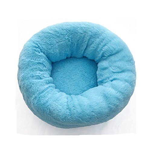 XIAJIE Pet Bed for Dogs and Cats, Fluffy Luxe Soft Plush Round Cat Bed, Donut Cat and Dog Cushion Bed, Self-Warming and Improved Sleep, Orthopedic Relief Shag Faux Fur Bed Cushion (Blue, 60)